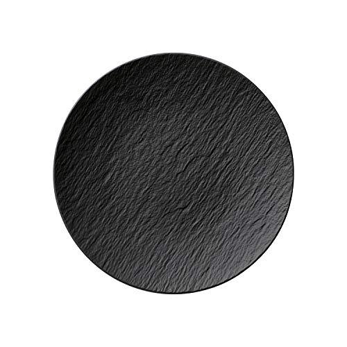 Villeroy & Boch Manufacture Rock Teller, 25 cm, Premium Porzellan, Grau (Rock Schwarz Tisch)
