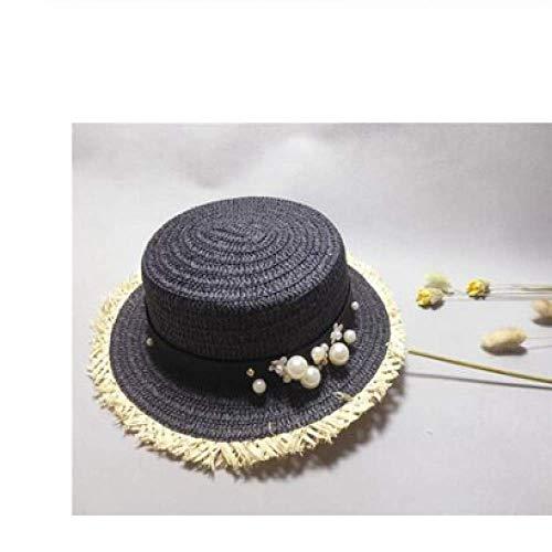 FSDMNFHJEI DameSun Caps Band Runde Flat Top Mädchen Stroh Strand Hut Sommerhüte für Frauen Strohhut