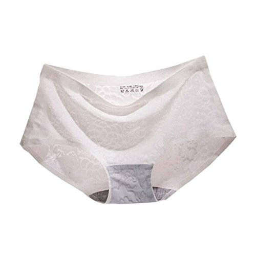 Zhuhaixmy Ladies Girls Embroidery Lace Seide Nahtlos Slip Hohe Taille Transparent Höschen White