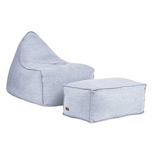 Xoft Living, Sitzsack aus Stoff für Erwachsene, Chilly Set mit Puff (Grau)