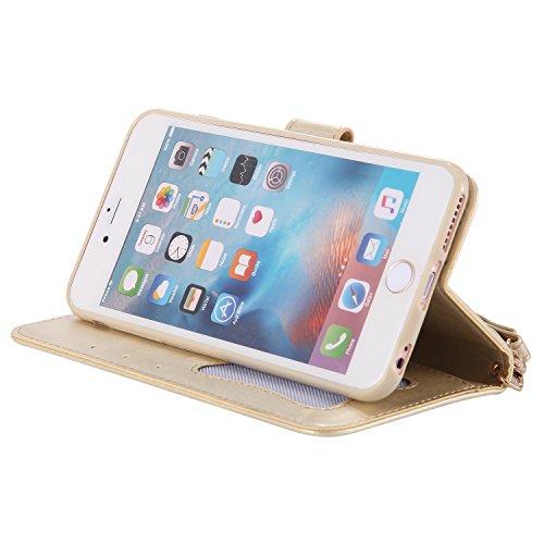 Cover iPhone 7 Plus, Custodia iPhone 7 Plus, Leweiany iPhone 7 Plus Custodia a Portafoglio Wallet / Libro in pelle Cover Elegante e di Alta Qualità Ragazza di Fiori della Gatto Luminoso Bling Strass G Oro