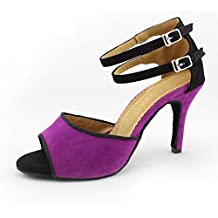 BYLE Leather Sandals Ankle Strap Samba Modern Jazz Dance Shoes Purple Plush Fine Adult Women's High Heeled Shoes Latin Dance Shoes High 85Cm