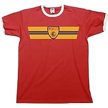 Mens ESPANA RETRO STRIP Patriotic Ringer T-Shirt Camiseta Para Hombre