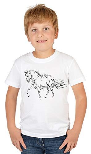 Pferde Sprüche Kinder-Shirt - Pferde Motiv Shirt : Pferdezeichnung - Kinder Reitsport Bekleidung Gr: S = 122-128
