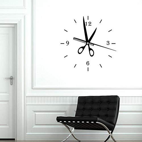 Peluquería Reloj Tatuajes de pared Peluquería Belleza Peluquería Diseño de interioresDecoración Vinilo Pegatinas de pared Arte de ventana 57x58cm