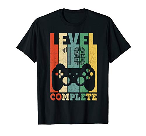 Herren 18. Geburtstag Party Geschenk Level 18 Junge Gamer Zocker T-Shirt