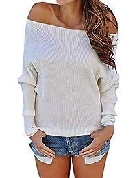 e8dd2895ab6c6 Pull Femmes Automne Hiver Chemisier Chemise Epaule Nue Dénudées Manche  Longue Col Bateau Sexy Blouse Pull