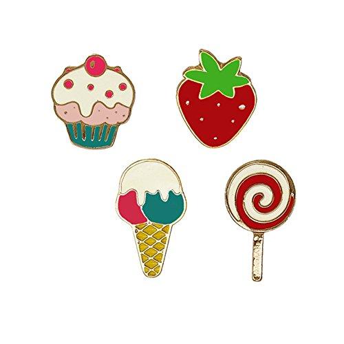 Lumanuby Süßes Dessert Anstecker Sets von Cupcake Erdbeer EIS und Lutscher Form Decal for Jacke Mantel Kleid oder Schal Mädchen, Brosche Serie Antike Dessert