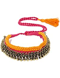 Rubans Oxidised Gold Toned Traditional Indian Bollywood Ethnic Wedding Designer Orange And Pink Thread Necklace...