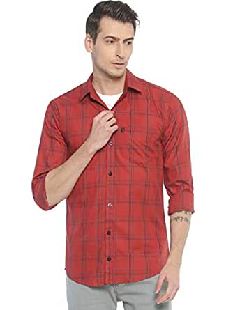 LEVIZO Men's Checkered 100% Cotton Casual Classic fit Full Sleeves Shirt Cherry Red Size S