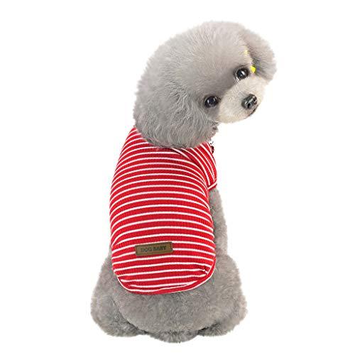 Makalon Gestreift Einfach Baumwolle Hund Kleider T-Shirt Weich und atmungsaktiv Strecken Zweibeiner Bodenbildung Pet Kleidung Sommer Frühling Katze Baumwoll Weste Basic Kleiner Welpe ()