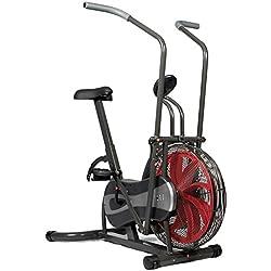 SportPlus Fan Bike, Assault Air Bike, Bicicleta estática con resistencia de aire y cinturón de freno, Bicicleta con aerogenerador, Peso máximo del usuario 100 kg, Seguridad de la cabeza
