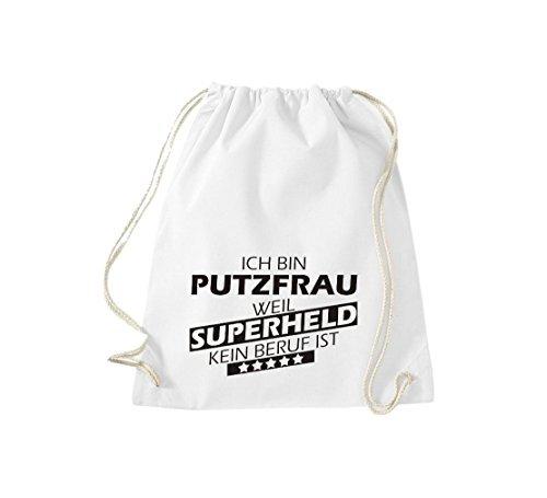 Shirtstown Borse palestra Sono Putzfrau, perché Super eroe niente Occupazione è - turchese, 37 cm x 46 cm bianco