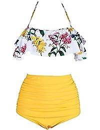 BaiShengGT Femme Vintage Polka Dot Taille Haute Bikini Halter Strap Maillots de Bain 2 Pièces Noir-imprime L