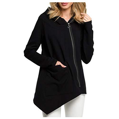 QIMANZI Langarmshirts Damen Solide Sweatshirt Lange Ärmel Irregulär Pullover Oberteile Diagonaler Reißverschluss Mantel(Schwarz,3XL) -