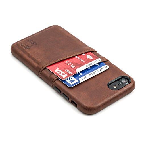 Dockem Exec Handyhülle mit 2x Kartenfach für iPhone 8 / 7 - Schmale Vintage Wallet Handytasche aus Kunstleder - Hülle mit Einrastautomatik - Braun