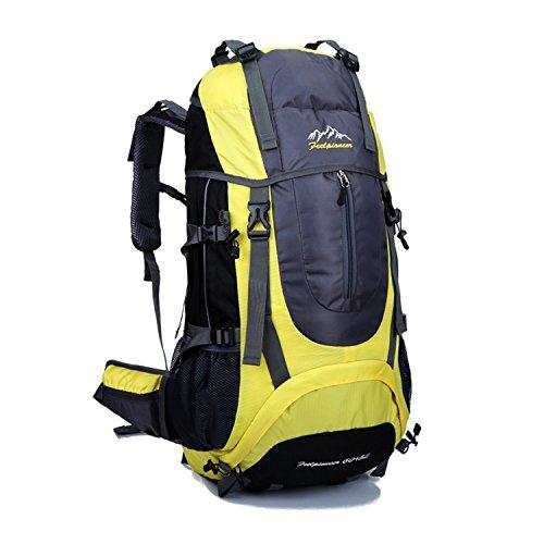 Young & Ming - Supergroßes 65L Unisex Rucksäcke Im Freien Wandern Klettern Freizeit Trekkingrucksäcke Outdoor Taschen Radfahren Reiten Reisetaschen wasserdicht Backpack Gelb