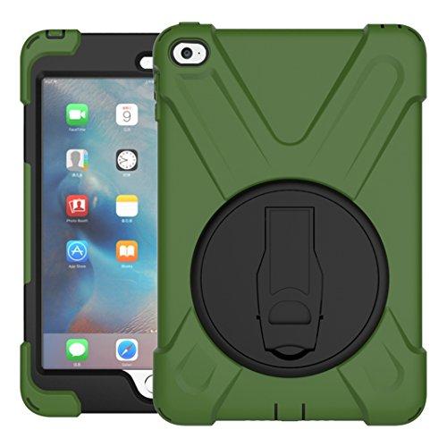 Preisvergleich Produktbild iPad Mini 4 Hülle, Asnlove 360 Grad Drehbare Robustes Kunststoff Hard Case mit Displayschutz - Ausklappbarer Standfuss für Apple iPad Mini 4 7.9 Zoll IOS 2015 Genaration Tablet - Armee grün