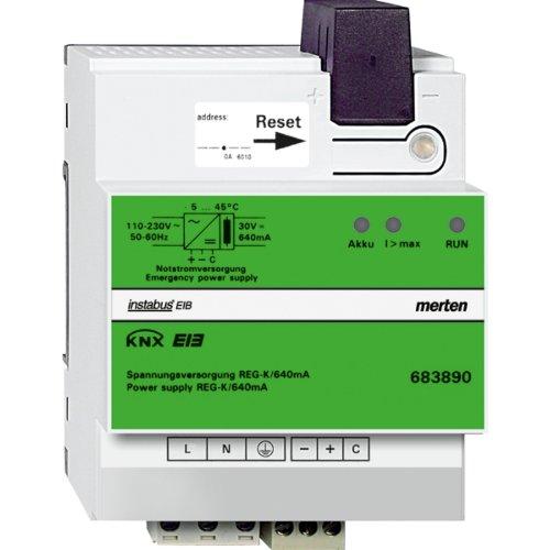 Merten 683890 KNX Spannungsversorgung REG-K/640 mA mit Notstromeingang, lichtgrau