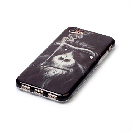 XiaoXiMi iPhone 7 Hülle Weiche Flexible Zurück Schutzhülle mit Bunte Muster für iPhone 7 TPU Silikon Etui Soft Slim Gel Rubber Case Cover Ultra Dünne Schlanke Schale Glatte Leichte Tasche Anti-stoß An das Rauchen Orang-Utan
