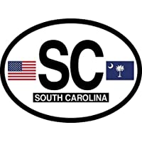 South Carolina Oval Glossly FLAG Decal, Waterproof