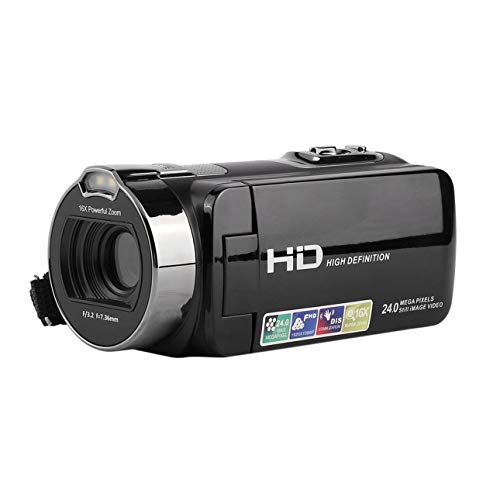 Ballylelly-Digital Video Camera Recorder DVC Full HD 1920x1080P Max 24 Pixels 16X Digital Active Zoom with LCD Black of Max Digital Video