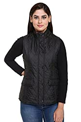 Trufit Sleeveless Solid Reversible Womens Black Wine Quilted Polyester Jacket