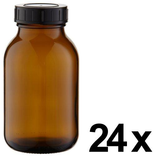 24 x Weithalsflasche 500ml Braunglas inkl. Schraubverschluss mit Dichtungsscheibe *** Weithalsflaschen, Schraubgläser, Weithalsgläser, Braunglasflaschen, Glasdosen, Allzweckgläser, Haushaltsgläser, Weithalsglas, Schraubglas, Allzweckglas, Haushaltsglas ***