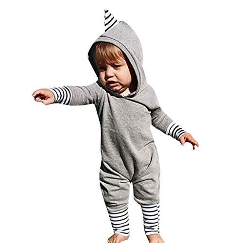 bobo4818 Neugeborenes Junge Mädchen Dinosaurier Gestreifter Overall mit Langen Ärmeln Kleider (6-12 Months, Gray)