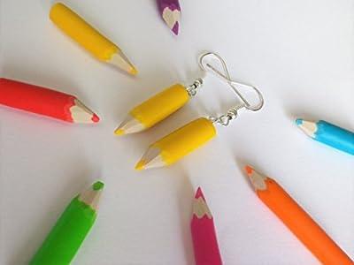 boucles d'oreilles crayon de couleur jaune cadeau enfant rentrée