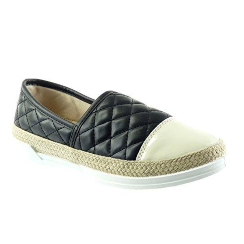 Angkorly - Scarpe da Moda Sneaker Espadrillas slip-on donna trapuntata verniciato corda Tacco tacco piatto 2 CM Nero beige