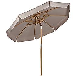 Sekey® Parasol en Bois inclinable pour Patio Jardin Balcon Piscine Plage Ø 270 cm Rond Beige/Taupe Sunscreen UV50+