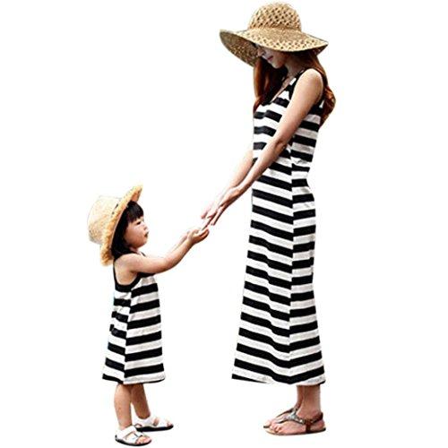 Bekleidung Longra Mama und Kinder Mädchen schwarz und weiß gestreiften Sommer Kleider Kleid mit Familie Freizeitkleidung Beiläufig Kleider Sundress (2-7Jahre) (Asian S(Mom), black)