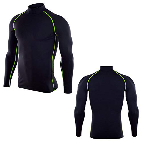 InitialD Herren Rash Guard, Compression Langarm Baselayer T Shirt @ L, zum Schwimmen & Surfen, Gym Fitness Workout Top