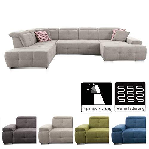 CAVADORE Wohnlandschaft Mistrel mit Longchair rechts und Ottomane links / Großes Sofa in U-Form / Inkl. Kopfteilfunktion / 343 x 77-93 x 228 / Grau/Weiß