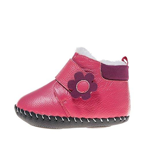 Little Blue Lamb Scarpe Neonato Scarpe Per Camminare Stivaletti Stivali Fiore rosa Peluche Rosa