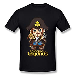 HIPI GOX Van Men's League of Legends Hero Saltwater Scourge Gangplank Comic T Shirts Black