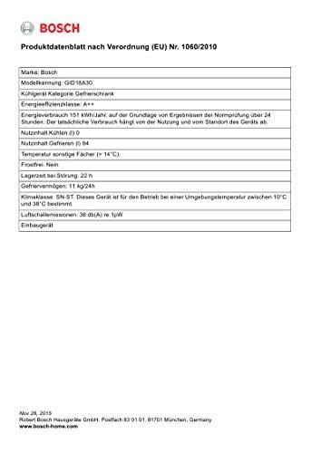 Bosch Einbaugefrierschrank