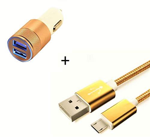 Shot Case Access-Discount - Caricabatterie da Auto per Wiko Y80, con Cavo in Nylon e Doppio Adattatore per accendisigari, Colore: Oro