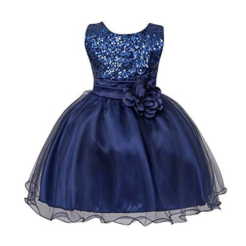 TTLOVE_Mädchen TTLOVE Kleinkind Baby MäDchen Pailletten äRmellose Tutu Prinzessin Outfits Kleidung Kleid Blumen Sleeveless Party Brautjungfer Kleider (Dunkelblau,S)