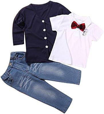 SMARTLADY Niño Manga Larga Camiseta Tops + Capa + Jeans Pantalones Trajes Conjuntos