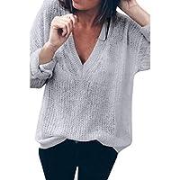 Hffan Damen Frauen Top Herbst und Winter Strickwaren Pullover Elegant Sexy V Ausschnitt Einfacher Stil Einfarbig... preisvergleich bei billige-tabletten.eu