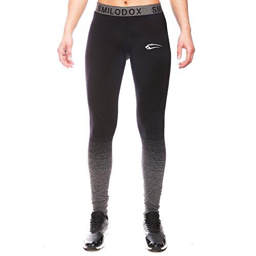SMILODOX Sport Leggings Damen | Seamless - Figurformende Leggins für Sport Fitness Gym Training & Freizeit | Sporthose - Workout Trainingshose - Tights Laufhose Schwarz / Anthrazit