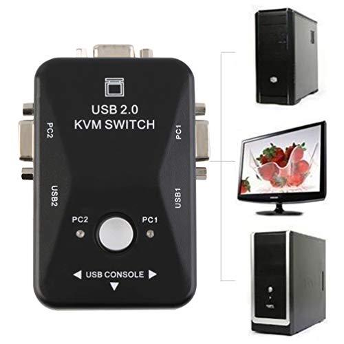 FCGV 2 Ports USB 2.0 Vga/Svga Kvm Switch Box for Sharing Monitor Keyboard Mouse -Black