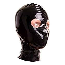 EXLATEX Latex Rubber Fetish Accessories Hood Mash with Zipper with the Round Hole for Eyes
