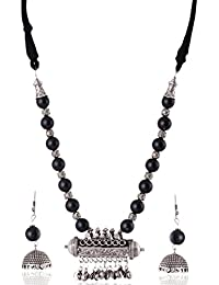 Rai Collection Black Oxidized Silver Strand Necklace Set For Women (RAI 040)