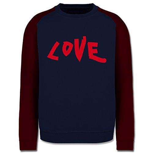Romantisch - Love - Herren Baseball Pullover Navy Blau/Burgundrot
