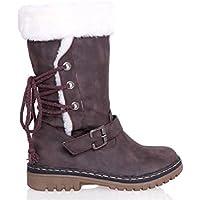 LIANGXIE Botas de Nieve de Gran tamaño para Mujer Botas de Invierno cálido Botas Gruesas de algodón Botas para Mujer (Color : Marrón, tamaño : 43)