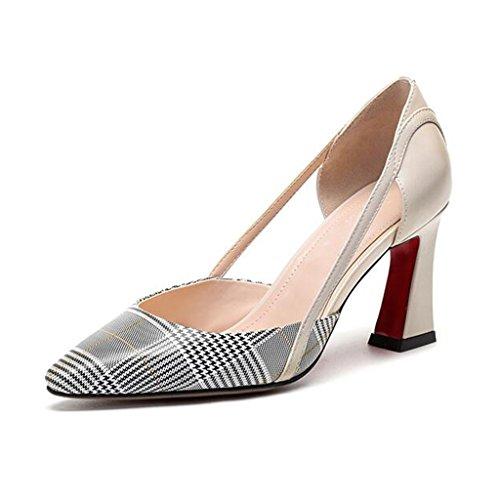 MUMA Pumps Rough-heeled Sandalen weibliche spitze Schuhe mit hohen Absätzen Buckles Baotou Zhongkong Frauen Schuhe schwarz creme-weiß ( Farbe : Cremeweiß , größe : EU37/UK4.5-5/CN37 )
