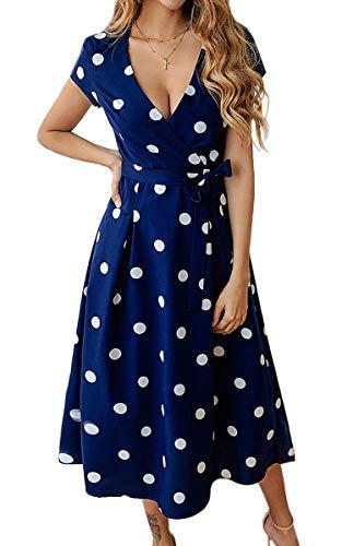 ECOWISH Damen Punkte Kleid V-Ausschnitt Sommerkleider Kurzarm Freizeitkleider Midi Strandkleid mit Gürtel Navy Blau XL